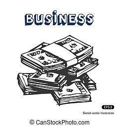 billets banque, dollar, paquets
