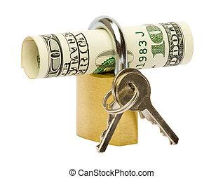 billets banque, dollar, verrouillé