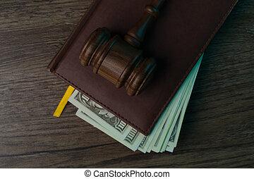 billets banque, dossier, juge, marteau