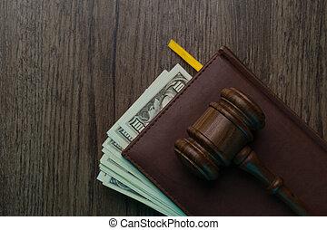 billets banque, dossier, marteau