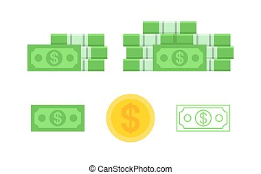 billets banque, ensemble, dollar