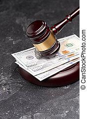 billets banque, fond, juge, marteau, tribunal, noir, justice, symbole