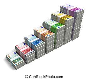 billets banque, graphique barre, euro
