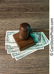 billets banque, image, marteau