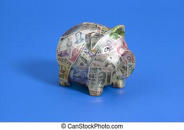 billets banque, international, devises, tirelire
