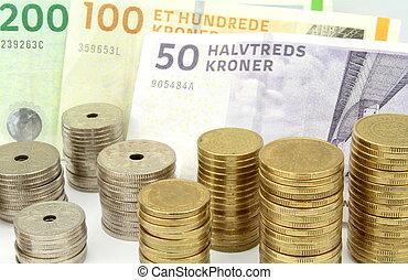 billets banque, kroner danois, pièces, empilé