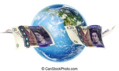 billets banque, la terre, autour de, gbp, boucle