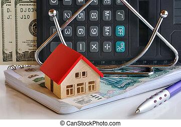 billets banque, maison, cahier