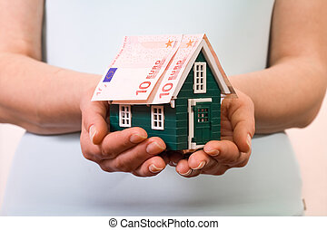 billets banque, maison, concept, assurance, euro