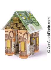 billets banque, maison, construit, euro