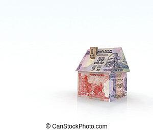 billets banque, maison, roupie