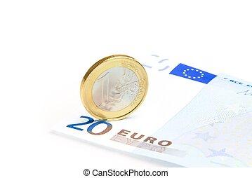 billets banque, monnaie, euro, 20-euro