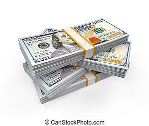 billets banque, nouveau, 100, dollar, piles