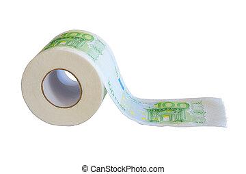 billets banque, peinture, papier soie, cent, rouleau, euro