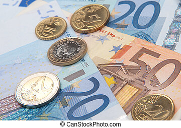 billets banque, pièces, euro
