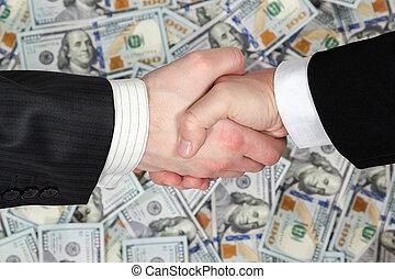 billets banque, poignée main, hommes affaires, fond