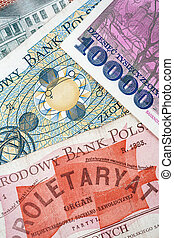 billets banque, polonais, vieux