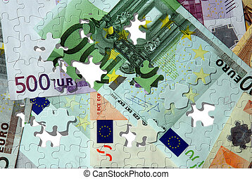 billets banque, puzzle, euro