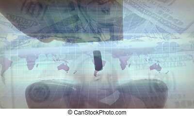 billets banque, rotation, main, banque, porcin, mettre, ...
