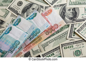 billets banque, sélectif, gros plan, russe, dollar, rubl, nous, foyer