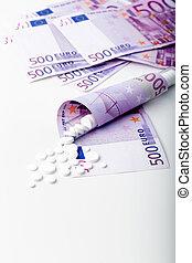 billets banque, tas, tablettes, blanc