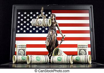 billets banque, uni, justice, symbole, prise vue., dollar, laptop., une, etats, drapeau, studio, droit & loi