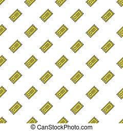 billets, cinéma, modèle, seamless, jaune, vecteur