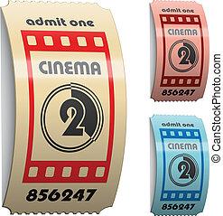 billets, cinéma, vecteur, 3d, brillant, frisé