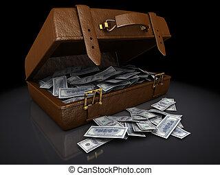 billets dollar, dans, a, brun, valise