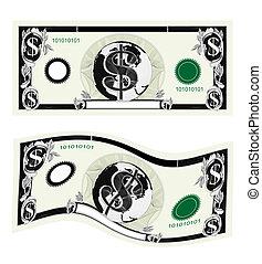 billets dollar, isolé, blanc