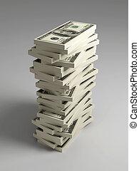 billets dollar, pile