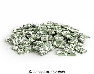billets dollar, tas, paquets