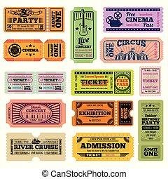 billets, ensemble, cinéma, film, vecteur, musique, retro, dépassement, événement, fête