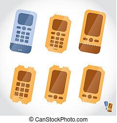 billets, icônes, téléphone portable, ligne, réservation
