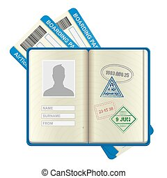 billets, ouvert, ligne aérienne, passeport, étranger
