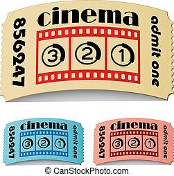 billets, vecteur, cinéma, 3d, frisé