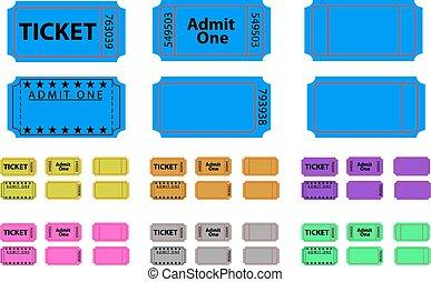 billetter, farver, forskellige, sæt, adskillige