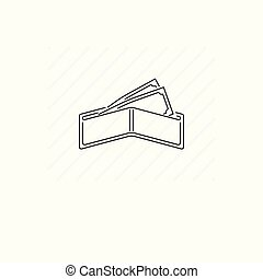 Billfold icon isolated. Single thin line symbol of open wallet with bills