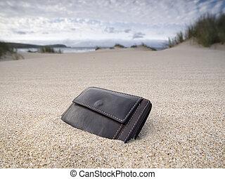 Billfold on the beach