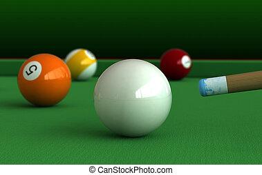 Billiard - 3d render of billiard balls and table