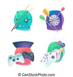 Billiard and darts, video game, poker emblem