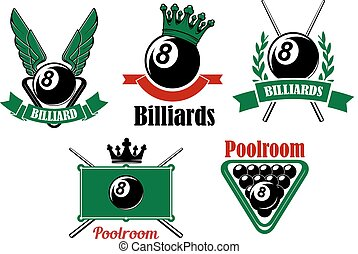 Billiard and poolroom emblems or icons set with wings, crown, crosses cues, ball and decorations