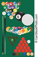 billiard and snooker - vector illustration of billard and...