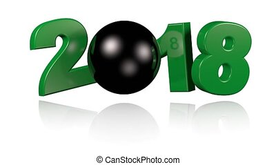 Billiard Ball 2018 Turning with a white background