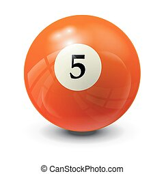 billiard ball 5- realistic vector design