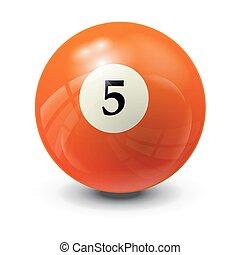 billiard ball 5- realistic vector design