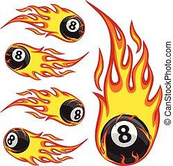 Billiard Ball 8 On Fire - Vector illustration of a billiard...