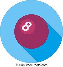 Billiard Ball - Billiard, white, ball icon vector image. Can...