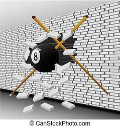 Billiard ball broke the wall