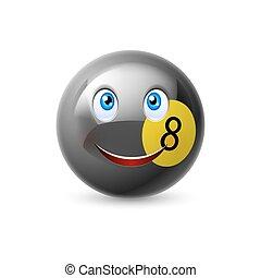 Billiard ball - Glossy cartoon billiard ball with smiling...